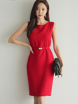 OL Style Solid Color Sleeveless Dresses