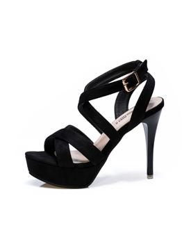 Euro Solid Color Strappy Platforms Sandals