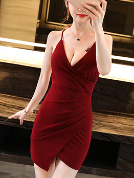Solid Low Cut Fitted Backless Sexy Dress