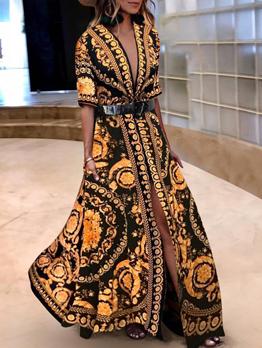 Hot Sale Printing Low-cut Large Hem Dresses