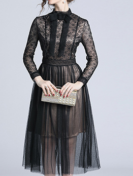 Euro Style Lace Stand Collar Dots Black Dresses