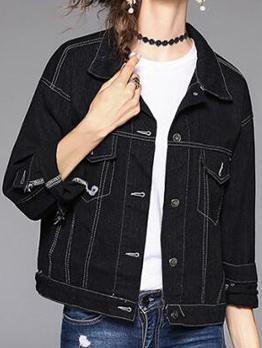 Stylish Embroidery Pocket Matching Denim Jacket