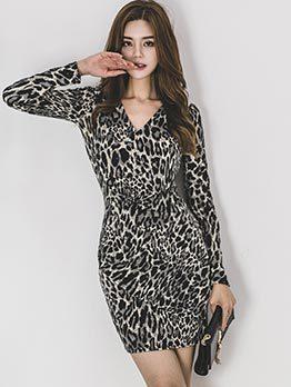 Fashionable Leopard V Neck Bodycon Dresses