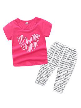 Summer Fashion Letter Printing Crew Neck Girl Sets