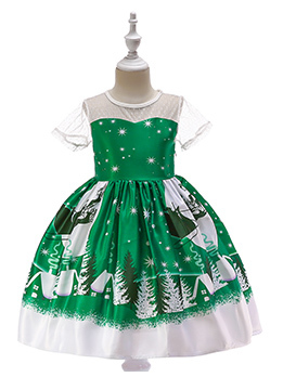 Christmas Printed Fitted Cute Flower Girl Dress