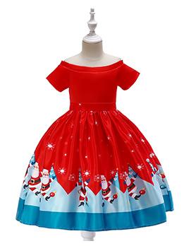 Christmas Short Sleeves Printed Fitted Flower Girl Dress