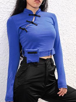 Sexy Stand Neck Crop Matching Blue T-Shirt