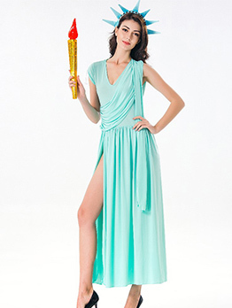 Halloween Solid Sexy Slit Statue Of Liberty Dress