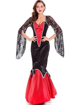Halloween Sexy Color Block Queen Of Vampire Dress
