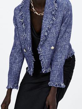 Fashion Turndown Neck Tassel Woolen Coat