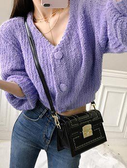 Korean Design V-Neck Solid Women Knitted Coat