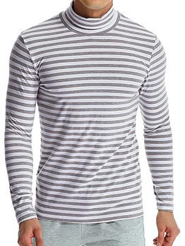New Arrival Striped High Neck Long Sleeve T-shirts