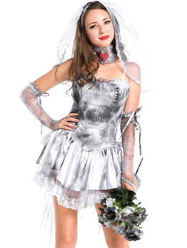 Boat Neck Ghost Bride Halloween Costume