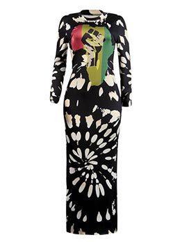 Hot Sale Printing Slit Round Neck Dresses