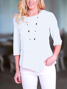 Casual Layered Irregular Half Sleeve Women T-Shirt