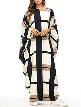 Muslim Contrast Color Bat Sleeve Loose Dresses