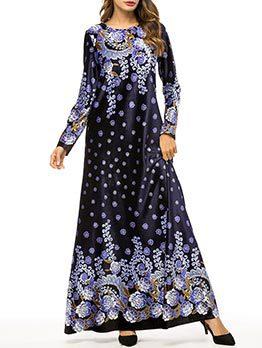 Muslim Temperament Floral Long Sleeve High Quality Dresses