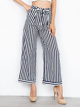 Striped Wide Leg Tie-Wrap Casual Pants For Women