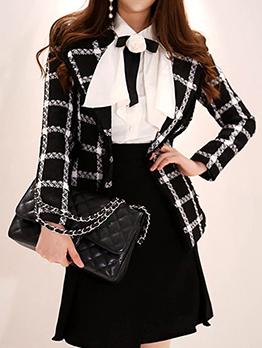 Korean Design Plaid Lapel Formal Blazers