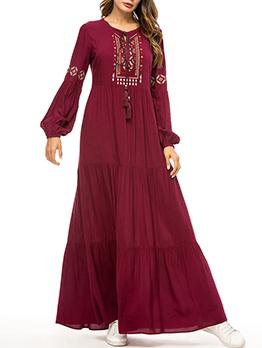 Muslim Embroidery Tassels Loose Maroon Maxi Dresses