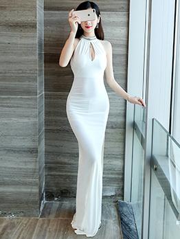 Backless Hollow Out Halter Split Simple Evening Dress