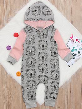 Christmas Deer Printing Contrast Color Hooded Sleepsuit
