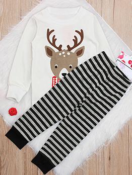 Christmas Animal Print T-shirts With Striped Pants