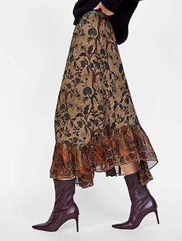 Euro Printed Ruffles Elastic Women's Midi Skirt