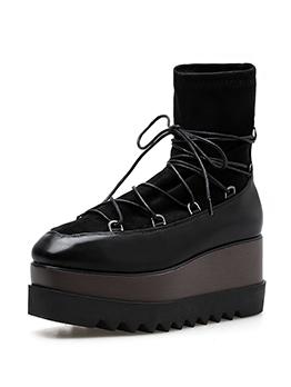 Euro Square Toe Lace Up Black Platform Boots