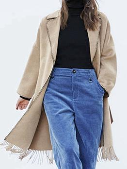 Autumn Hot Sale Tassel Long Wool Coat