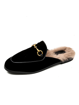 Fashionable Furry Slip On Outdoors Loafer For Women