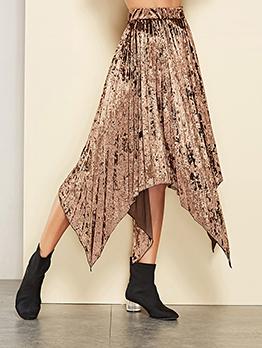 Euro Solid Elastic Waist Pleated Asymmetrical Skirt