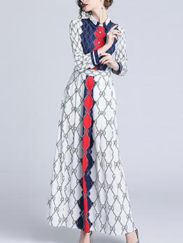 Fashionable Geometric Print Contrast Color Maxi Dresses