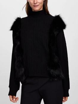 Winter Fur Patchwork High Neck Black Sweatshirt