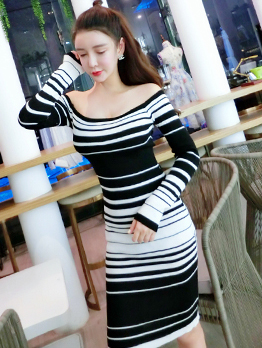 Off The Shoulder Striped Bodycon Dresses