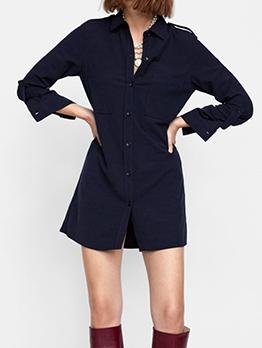 Autumn Turndown Neck Pocket Navy Shirt Dresses
