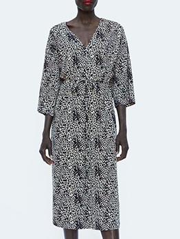 Hot Sale V Neck Leopard Printed Tie-Wrap Dress