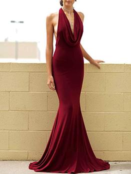 Backless Halter Floor Length Maroon Dresses