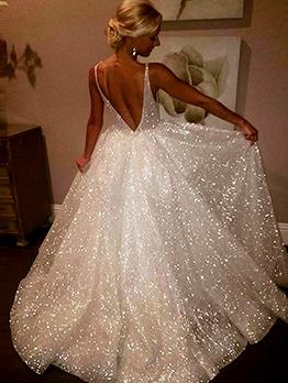Classy Backless V Neck Sparkly Dresses
