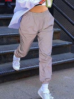 Casual Elastic Solid Grey Long Pants