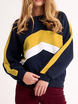 Fashion Colorblock Loose Sweatshirt For Women