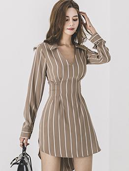 Striped V Neck Tie-wrap Ladies Dresses