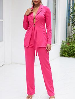 Euro Lapel Tie-Wrap Pure Color Casual Women Suit