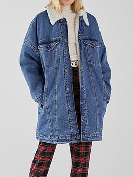 Winter Pockets Cashmere Long Denim Coat
