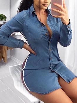 Fashion Button Up Fitted Denim Blue Shirt Dress