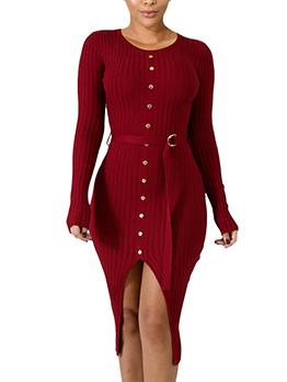 Hot Sale Buttons Split Hem Solid Bodycon Dress