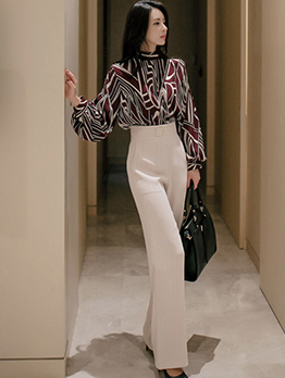 Korean Design Printing High Waist Women Suit
