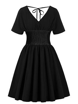 Gothic V Neck Smart Waist Tie-Wrap Short Sleeve Dress