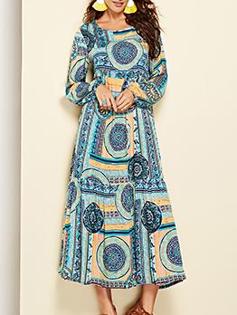 Hot Sale Printed Loose National Long Sleeve Maxi Dress