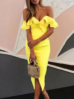 Boutique Fashion Slit Sexy Off The Shoulder Dress